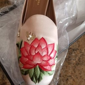 Aquazzura Embroidered Silk Shoes